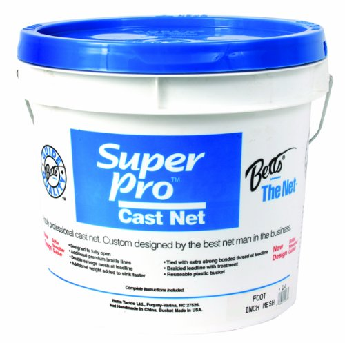 Betts 24-8 Super Pro Mono Bait Cast Net, 8-Feet 1/4-Inch, Mesh, 1.3-Pound Lead per Feet