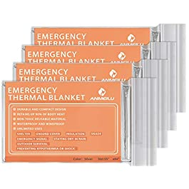 ANMEILU Emergency Mylar Thermal Blankets -Space Blanket Survival kit Camping Blanket (4-Pack). Perfect for Outdoors…