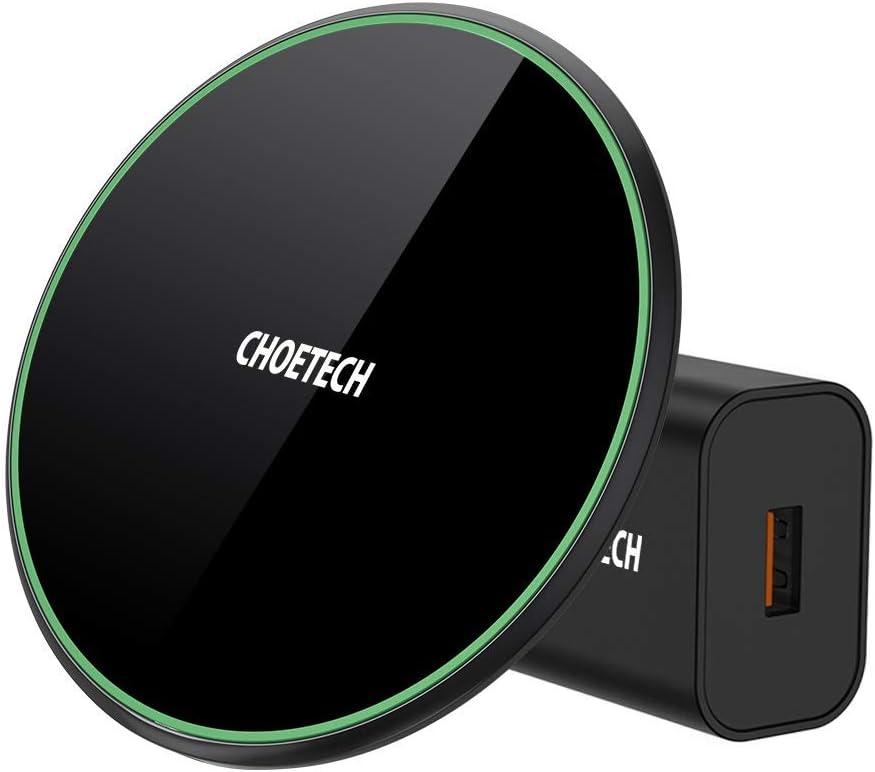 CHOETECH Cargador Inalámbrico Rápido, Wireless Charger 15W [Con Adaptador QC 3.0], Carga 7.5W para iPhone 11/11Pro/SE/XS Max/XR/X/8/8Plus, 10 W para Samsung S20/S10/S9/S8, 15 W para LG V30,Sony XZ3