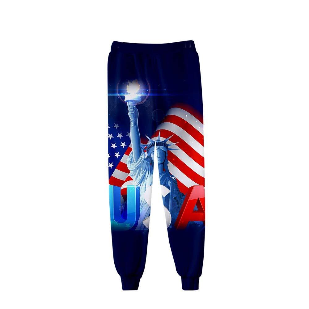 Men's Loose Sweatpants Fashion Casual Plus Size American Flag Printed Trousers Drawstring Pant