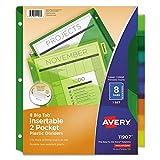 #2: Avery 11907 Insertable Big Tab Plastic Dividers w/Double Pockets, 8-Tab, 11 x 9