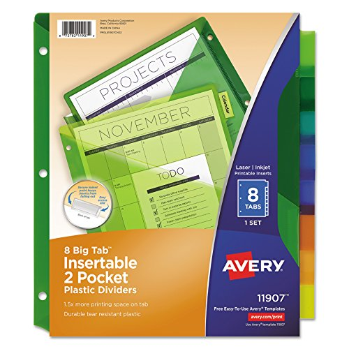 Avery Big Tab Insertable Two-Pocket Plastic Dividers, 8 Multicolor Tabs, 1 Set (11907)