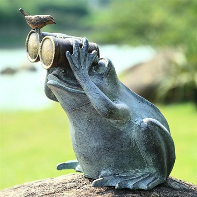 SPI Home 33758 Frog Spectator with Bird Statue by SPI Home