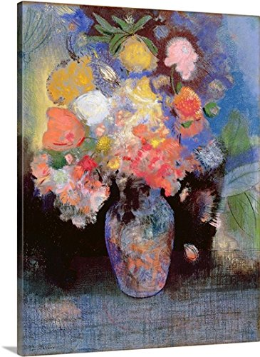 Gallery-Wrapped Canvas entitled Flowers, 1900 by Odilon (1840-1916) Redon 27''x36'' by greatBIGcanvas