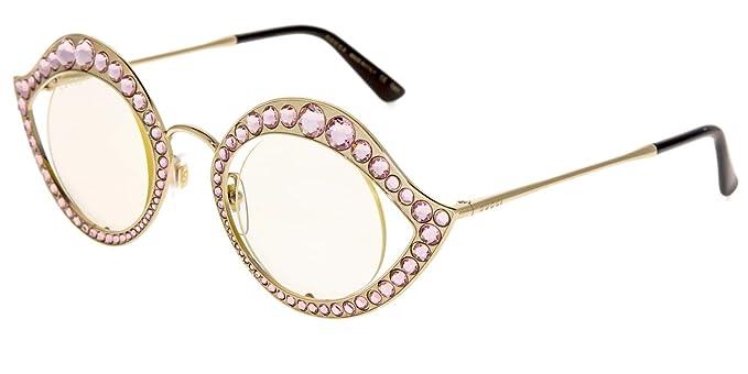 1118fb49de70e Amazon.com  GUCCI CRYSTAL LIPS Stud 0046 Gold Pink Metal RX Frame ...