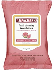 Burt's Bees Facial Cleansing Towelettes, Pink Grapefruit, 30 Count