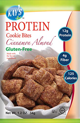 Kay's Naturals Protein Cookie Bites, Cinnamon Almond, Gluten-Free, Low Fat, Diabetes Friendly, All Natural Flavorings, 1.2 Ounce (Pack of 6)