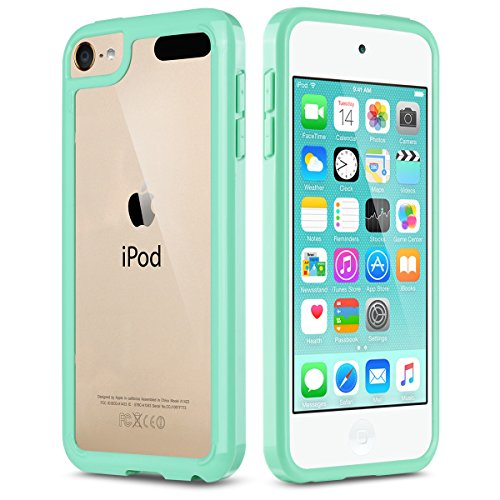 iPod Touch 6 Case,iPod Touch 5 Case,ULAK CLEAR SLIM Hybrid Premium Clear Bumper TPU/Scratch Resistant Hard PC Back Cover/Corner Shock Absorption Case for Apple iPod Touch 5 6th Gen_Clear/Mint Green