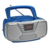 Riptunes Programmable CD Boombox- Portable Boombox, AM/FM Radio, with Bluetooth Blue CDB23BT