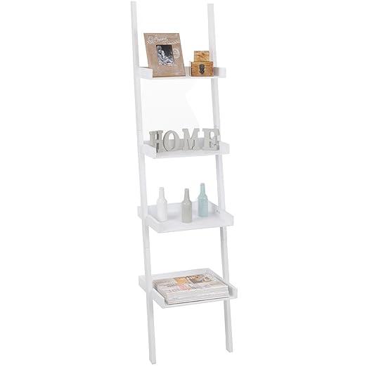 Promobo - Estantería Decorativa para Pared, diseño de Moda en Forma de Escalera, Color Blanco: Amazon.es: Hogar