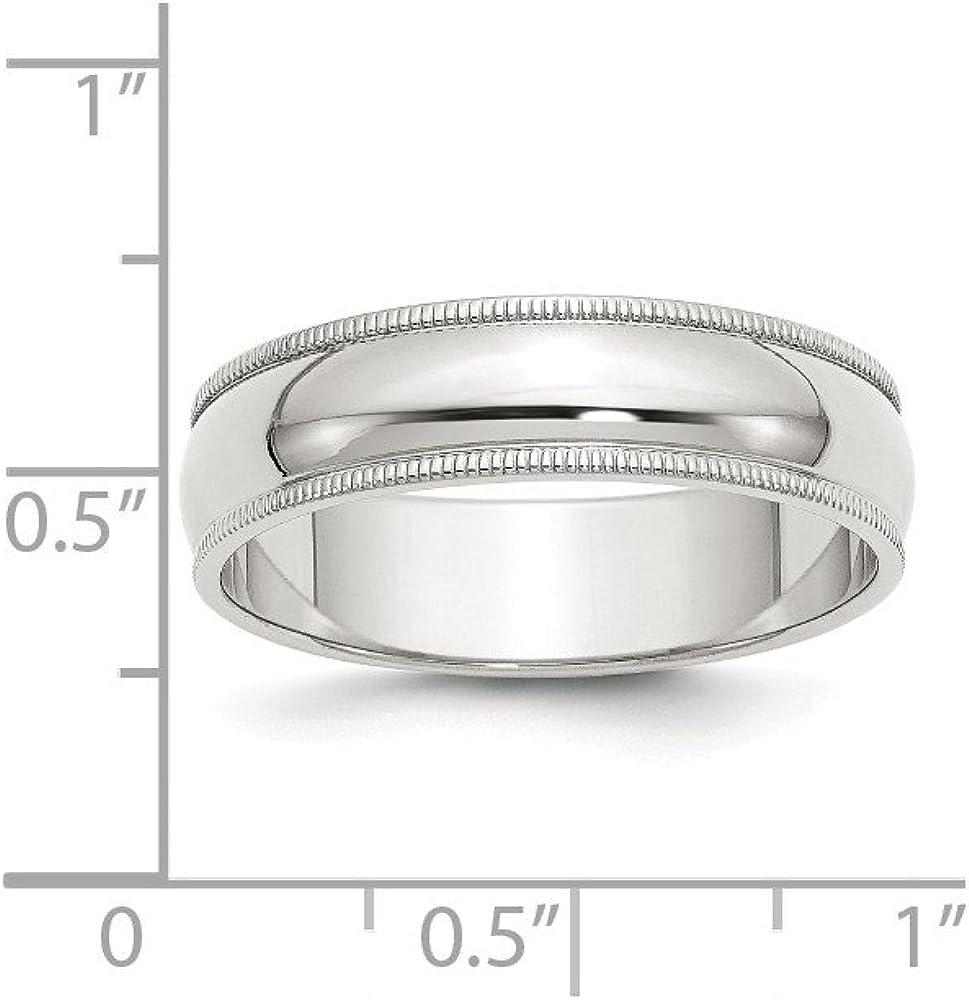 Solid 925 Sterling Silver 6mm Half Round Milgrain Wedding Band