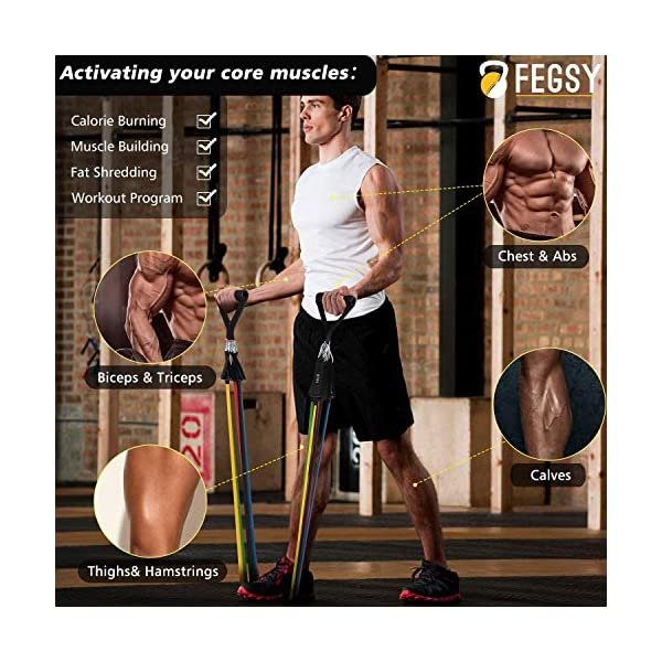 FEGSY-Resistance-Bands-Set-for-Exercise-Stretching-and-Workout-Toning-Tube-Kit-with-Foam-Handles-Door-Anchor-Ankle-Strap-and-Carrying-Bag-for-Men-Women