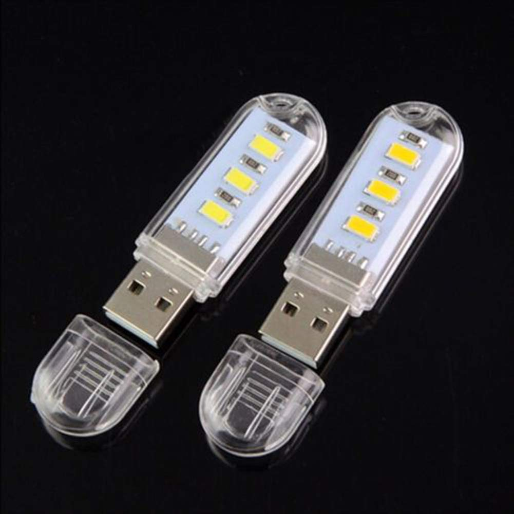 LED Night Light,yanQxIzbiu 2Pcs Mini Portable Super Bright 3 LED Night Light USB Lamp for PC Laptop Reading