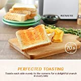 2-Slice Toaster, NOVETE Extra-Wide Slot Toaster with Defrost, Reheat and Cancel Functions, 7 Browning Levels, Dust Cap and Removable Crumb Tray, Brushed Stainless Steel Body, Suitable for Toaster Pastries, Waffles