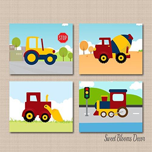 Construction Wall Art,Trucks Kids Wall Art,Construction Nursery Wall Art Mixer Digger Tractor Train Wall Art Decor-UNFRAMED set of 4 Photo PRINTS (NOT CANVAS) C484 - Kid Art Tractor