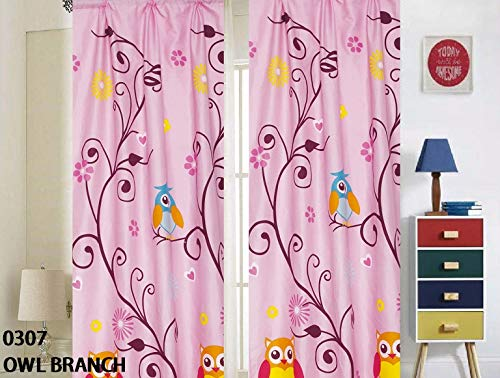 MB Home Collection 4 Pieces Window Curtains Panels Printed Hoot Owl Branches Multicolor Light Pink Design Girls # Curtain Owl Branch