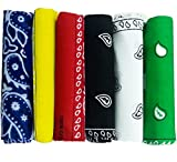 6 Color Pack Double Sided Print - Pack Of 6 Assorted Color Classic Paisley Bandanas