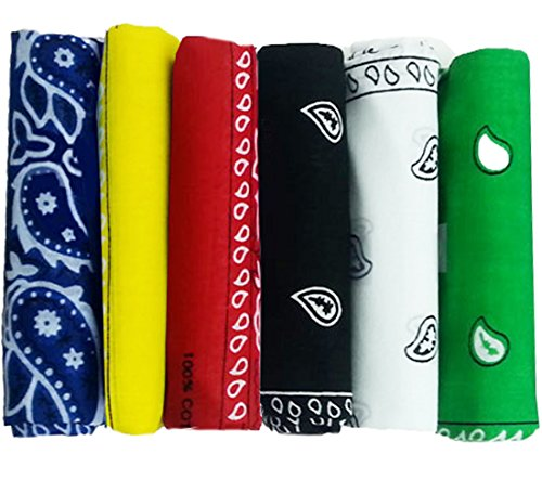 CoverYourHair 6 Color Pack Double Sided Print - Pack Of 6 Assorted Color Classic Paisley Bandanas ()