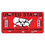 Zombie Hunting License Permit Red United States - Biohazard Response Team Novelty Metal Vanity License Tag Plate
