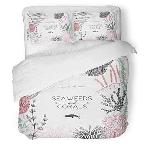 SanChic Duvet Cover Set Sea Corals Fish Stars Sketch Vintage Underwater Natural Decorative Bedding Set with 2 Pillow Cases Full/Queen Size (Polyp Star Coral)