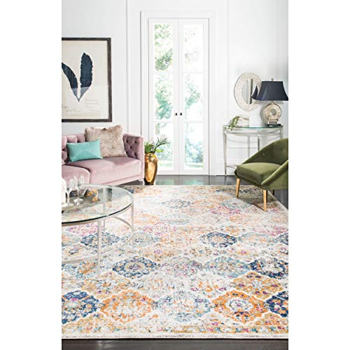 Safavieh Madison Collection MAD611B Cream and Multicolored Bohemian Chic Distressed Area Rug (67 x 92)