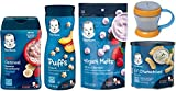 Gerber Baby Food Variety Pack of 5 – Puffs, Melts, Lil Bits Cereal, Lil Crunchies and Snack Catcher For Sale