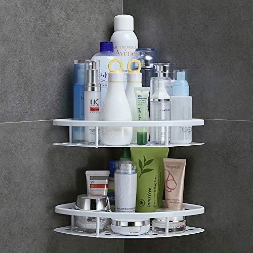GERUIKE Shower Caddy Corner Shelf Wall Mounted Aluminum Self Adhesive Bathroom Organizer Rustproof 2 tiers, White