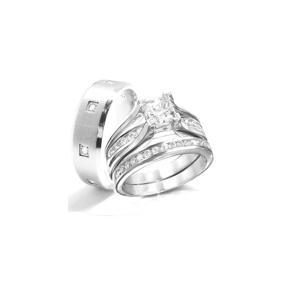 KingswayJewelry His & Her 3 Piece Women Sterling Silver & Men Stainless Steel Engagement Rings Set