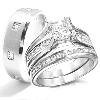 KingswayJewelry His & Her 3-Piece Women Sterling Silver & Men Stainless  Steel Engagement Rings