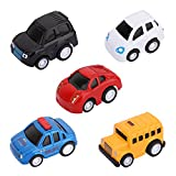 Zooawa Pull Back Cars Toys, Kids Funny Little Alloy Shell Vehicles Play Set, 5 Packs Mini Car Models for Toddlers Children, Red & Black & Yellow & White & Blue