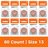 AmazonBasics Size 13 Hearing Aid Batteries, 60-Pack