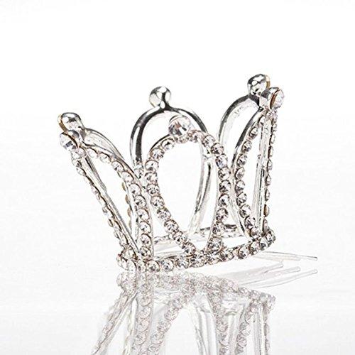 Crown Clip - Tinksky Flower Girl Rhinestone Crown Teardrop Tiara Headband with Silver Hair Comb Clip