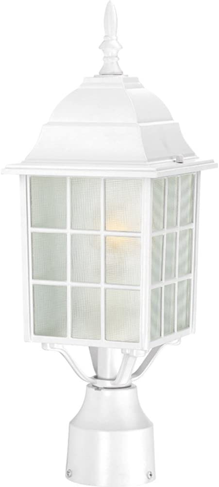 Nuvo Lighting 60/4907 Adams One Light Post Lantern 100 Watt A19 Max. Frosted Glass White Outdoor Fixture