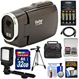 Vivitar DVR949HD 1080p HD Video Camera Camcorder (Black) 32GB Card + Batteries & Charger + Case + Tripod + LED Video Light + Kit