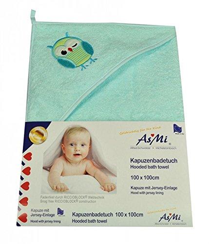 Asmi Kapuzenbadetuch Baby Badetuch Eule in 3 Farben erhä ltlich 100 x 100 cm (Tü rkis)