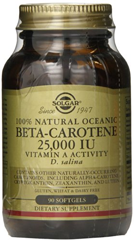 Solgar Oceanic Beta Carotene 25,000 IU Softgels, 90 Count Beta Carotene Softgels Antioxidant Vitamins