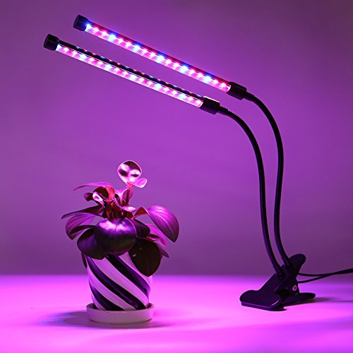 [2018 Upgraded]18W Dual Head Timing Grow Lamp, 36 LED Chips with Red/Blue Spectrum for Indoor Plants, Adjustable Gooseneck, 3/6/12H Timer, 5 Dimmable Levels[AMAZINGCATS] by AMAZINGCATS (Image #1)