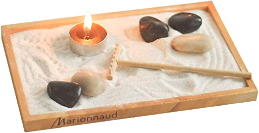 Laogg Jardin Zen Mesa De Arena Zen Japonesa Soporte De Vela Suministros De Yoga Meditación Mesa De Arena Cuenta con Adornos: Amazon.es: Hogar