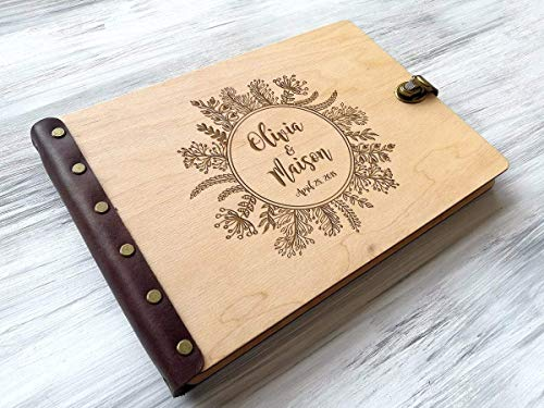 (Rustic Wedding Photo Album Wreath Wedding Gifts for Couple Wood Photo Album Wedding Albums for Photos Custom Engraved Photo Album Personalized Photo Album 5th Wedding Anniversary Gifts for Couple)