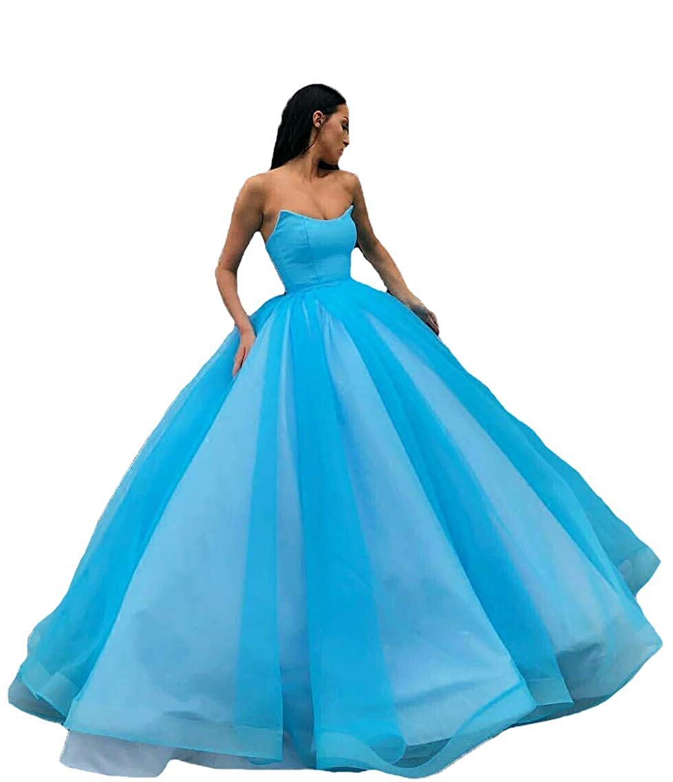 bluee Liaoye 2018 Women's Sweetheart Long Quinceanera Dresses Tulle Evening Ball Gown Dress Prom Party Dresses