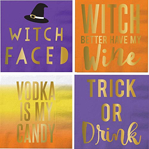 Halloween Cocktail Napkins Funny Phrases Shiny Foil Stamped