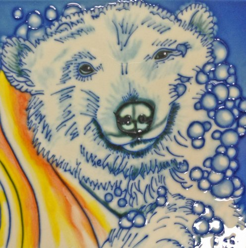 Bear Tile (Continental Art Center BD-2230 8 by 8-Inch Polar Bear with a Yellow Towl Ceramic Art Tile)