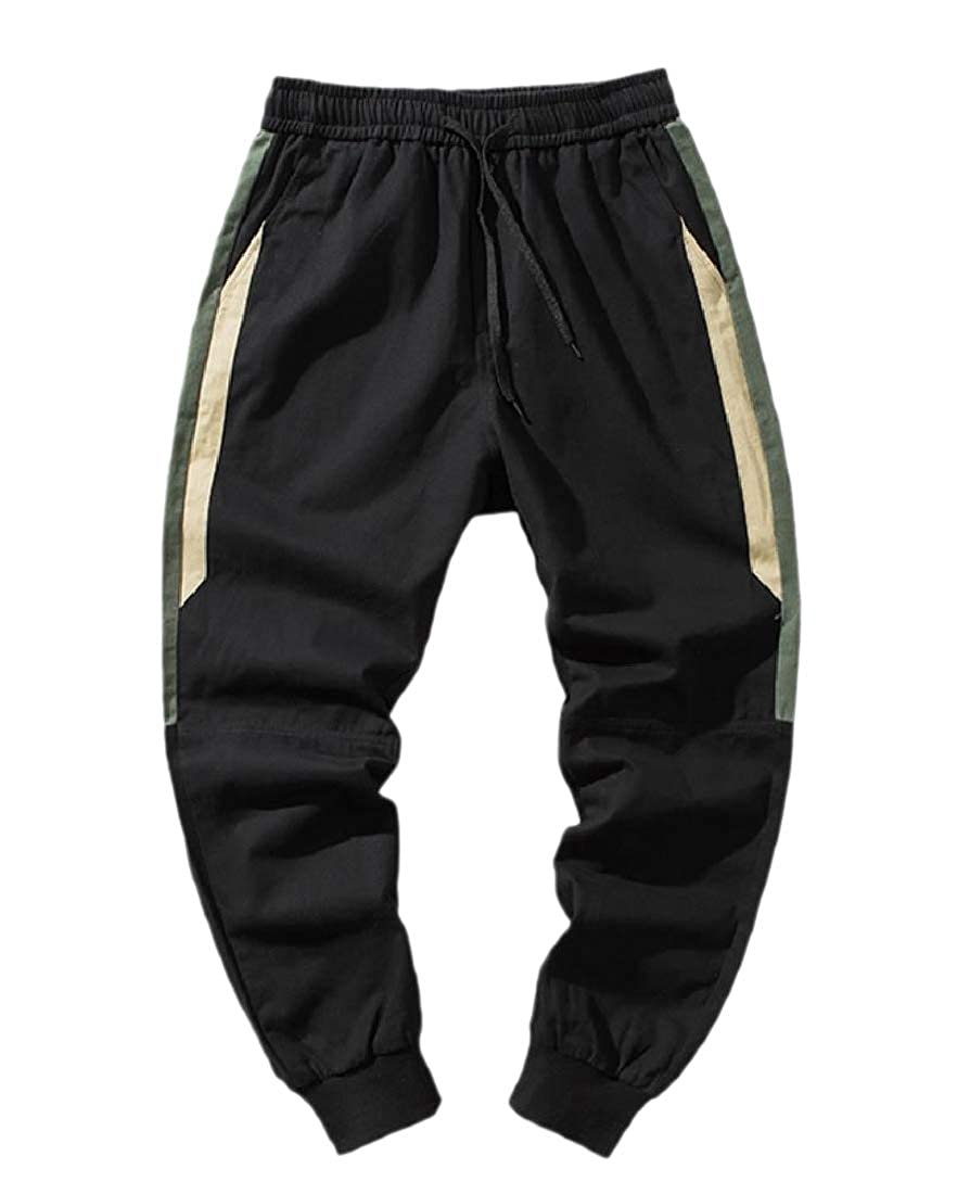 YUNY Mens Slim-Tapered Fleece Fall Winter Loose Harem Wild Cargo Pants Black L