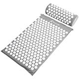 ProSource Acupressure Mat and Pillow Set for Back/Neck Pain Relief and Muscle Relaxation, Grey