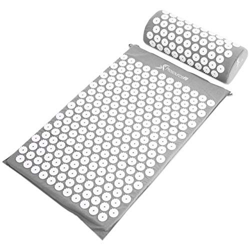ProSource Acupressure Mat and Pillow Set for Back/Neck Pain Relief and Muscle Relaxation, Grey (Pressure Points On Body To Relieve Headache)