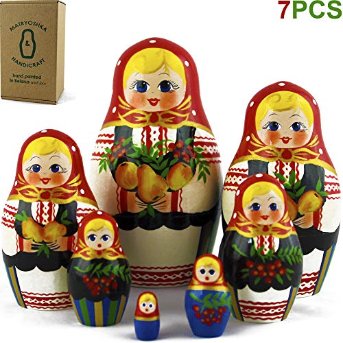Classic Matryoshka Russian Nesting Dolls 7 Pieces Garden Theme for Farmhouse Decor