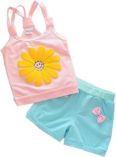 Fabal Toddler Kids Baby Girls Outfits Clothes Bowknot T-Shirt Tops+Short Skirt 1Set