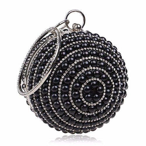 XJTNLB Explosiva mujer perla bolsos moda europea y americana banquete noche bolsa bolsa esférica,Azul Black
