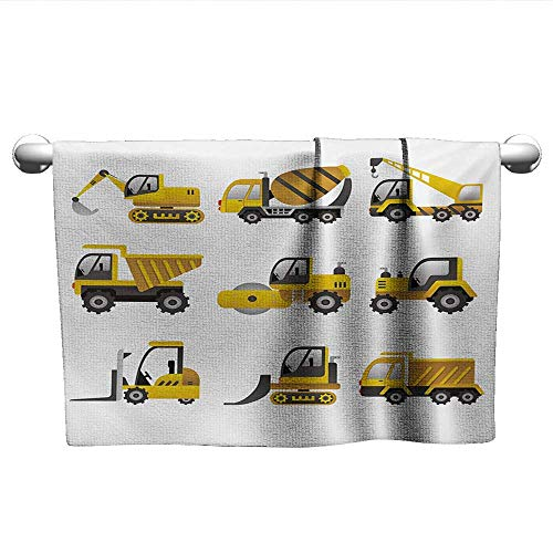 Construction,Tea Towel Big Vehicles Icon Collection Engineering Building Theme Clip Art Style Dry Fast Towel Yellow Grey White W 28