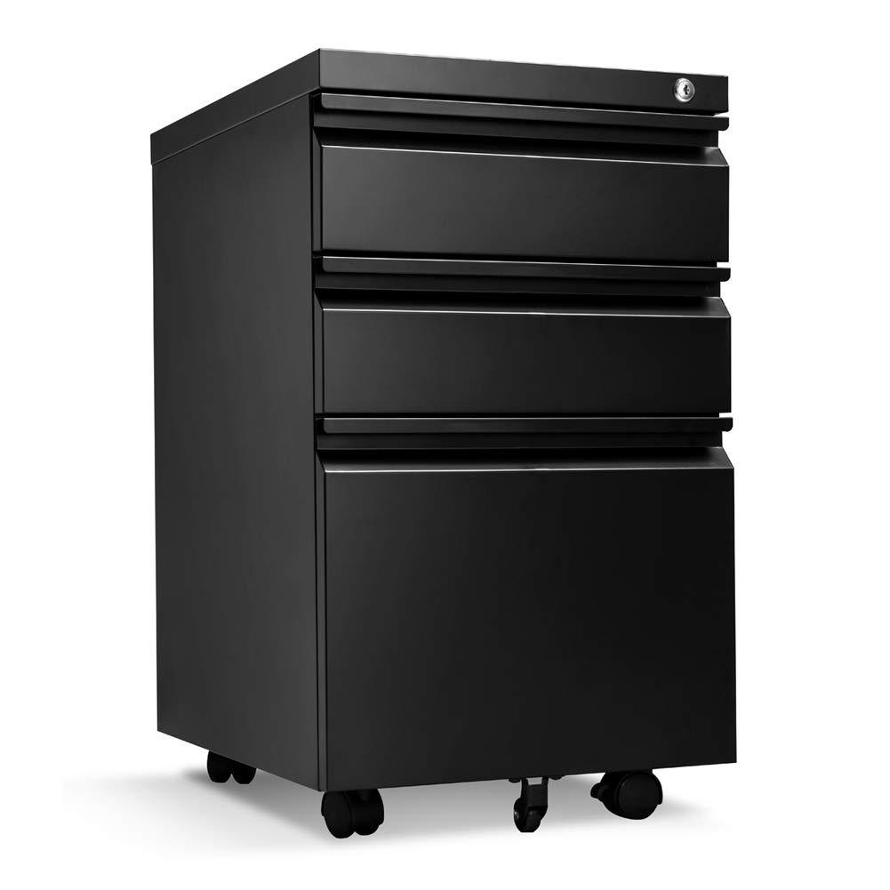 Locking File Cabinet Rolling Metal Filing Cabinet 3 Drawer Fully Assembled Office Pedestal Files Except Wheel(Black A)